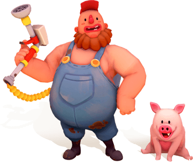 Play as either the Farmhand or the Pigs
